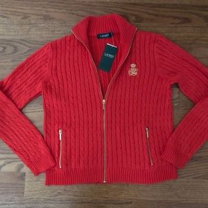 Ralph Lauren  Full Zip Cable Knit Sweater. Large